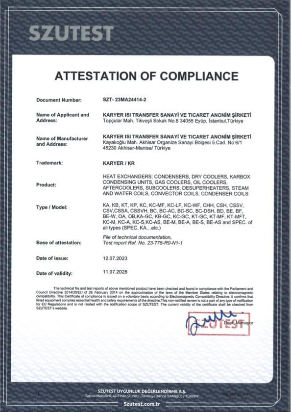 Karyer Heat Exchangers - Certificates